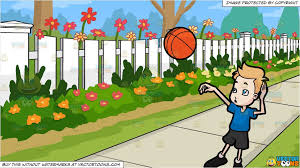 A Boy Throwing A Basketball And White Picket Fence Background Clipart Cartoons By Vectortoons