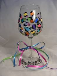 colorful leopard print wine glass or
