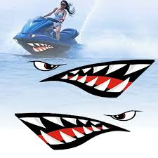 Graphics Decals 2x Waterproof Shark Teeth Mouth Stickers Kayak Boat Car Auto Funny Decals Parts Accessories Cub Co Jp