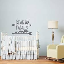 Yhjxcs Bear Family Wall Decal Vinyl Sticker Woodland Nursery Decor Forest Decals Kids Baby Boys Room Home Decorate 42x32cm Educational Toys Planet