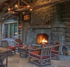 incredibly rustic outdoor porch with a