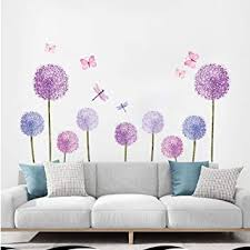 Amazon Com Ufengke Purple Dandelions Wall Stickers Butterflies Flower Wall Decals Wall Art Decor For Girls Bedroom Living Room Furniture Decor