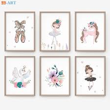 Girl Bedroom Wall Art Poster Ballerina Print Pink Gold Baby Nursery Purple Canvas Painting Decoration For Kids Room Decor Art Painting Calligraphy Aliexpress