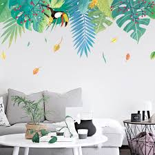 Bohemia Large Leaf Wall Decal Green Plants Wall Stickers Etsy