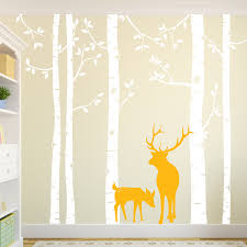 Birch Tree Wall Decal With Deer Removable Huge White Tree Wall Stickers For Baby Nursery Room Tree Wall Decor Living Room Za318 Birch Tree Wall Decal Tree Wall Decalwall Decals Aliexpress