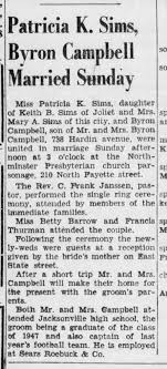 Byron Campbell marries patricia K Sims 7 sep 1947 Jacksonville ...