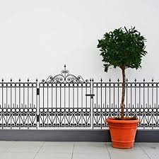 Amazon Com Wrought Iron Fence And Gate Wall Decal Set 25 Tall X 133 Wide Handmade