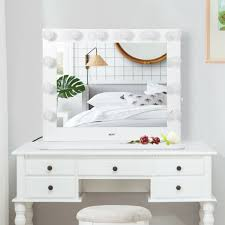 white makeup vanity with lights