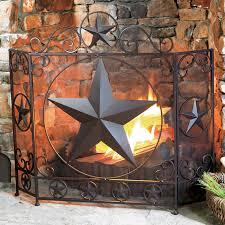 lone star rustic fireplace screen