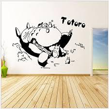Violet Design Cartoon Totoro Sleeping Totoro Wall Decals Diy Removable My Neighbor Totoro Art Mural Vinyl Waterproof Wall Stickers For Baby Kid Nursery Room 23 Inches X 17 5 Inches Black Baby B077d274l6
