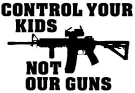 Amazon Com Control Your Kids Not Our Guns Vinyl Car Decal White 5 By 5 Inches Automotive