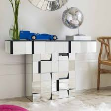 mirrored console table and coffee table