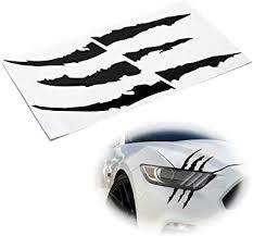 Amazon Com Ijdmtoy 1 Reflective Black Headlight Eye Scar Or Claw Scratch Shape Vinyl Decal Set Compatible With Car Truck Suv Automotive