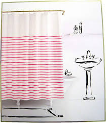 harbour stripe pink white fabric shower