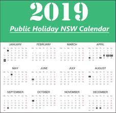 nsw public holidays calendar 2019