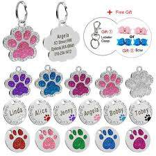 Bling Paw Glitter Dog Tags Engraved Personalized Disc Pet Cat Id Name Collar Tag Ebay