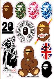 Amazon Com A Bathing Ape Monkey Logo Skateboard Vinyl Sticker Laptop Luggage Car Bumper Decals Home Kitchen