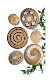set of 6 wall plates african basket