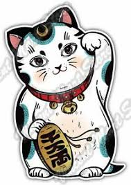 Maneki Neko Lucky Cat Cute Money Fortune Car Bumper Vinyl Sticker Decal 3 5 X5 Ebay