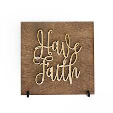 have faith wood sign religious quotes worship home