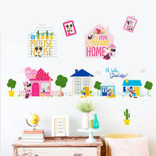 Cartoon Disney Mickey Minnie Mouse Sweet Home Wall Stickers For Kids Room Home Decor Bedroom Wall Pvc Diy Mural Art Wallpaper Buy At The Price Of 1 19 In Aliexpress Com Imall Com