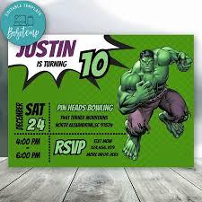 Invitacion De Cumpleanos Editable De Los Vengadores Hulk Descarga
