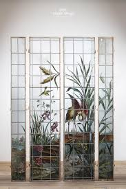 painted stained glass panels with river