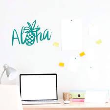 Amazon Com Customvinyldecor Aloha Wall Decal Sticker With Hawaiian Pineapple Pineapple Decor Turquoise Vinyl Art Decoration Home Kitchen