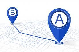 Pin Nawigacyjny Gps Sprawdzający Punkt A Do Punktu B Ciemny Niebieski Kolor  Na Białym Tle   Premium Wektor