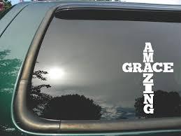 Amazon Com Amazing Grace Cross Die Cut Christian Vinyl Window Decal Sticker For Car Or Truck 5 X7 Automotive