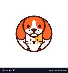 dog cat pet circle round cartoon logo