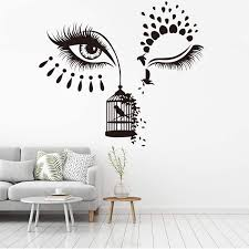 Amazon Com Vodoe Wall Decals For Bedroom Lash Wall Decal Eye Wall Stickers Creative Beautiful Makeup Beauty Salon Suitable For Family Living Room Vinyl Wall Art Decor Black 24 X 21 2inches Home
