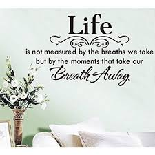 Shop Life Is Not Measured By The Breaths We Take But By The Moments That Take Our Breath Away Saying Home Decal Vinyl Overstock 15300130
