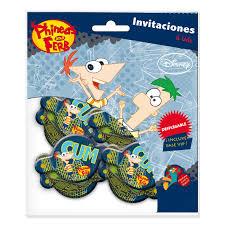 6 Invitaciones Cumpleanos Phineas Ferb Disfrazmania