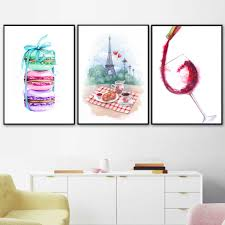 Watercolor Paris Macaron Coffee Croissant Wine Nordic Posters And Print Wall Art Canvas Painting Wall Picture Kitchen Home Decor Painting Calligraphy Aliexpress