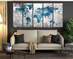 Amazon Com Blue Push Pin Wolrd Map Wall Art Framed 5 Panel World Travel Map Canvas Print For Living Room Wall Decal For Kids Room 776 Handmade