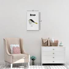 Scandinavian Illustration Bird Wall Decor White Kids Room Decor Nurser Smile Art Design