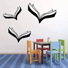 Amazon Com Book Wall Decals Flying Books Reading Themed Decor Peel And Stick Removable Vinyl Sticker For Home Playroom Library Or Classroom Handmade