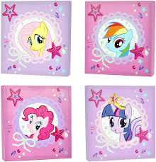 Amazon Com My Little Pony Canvas Wall Art 4 Piece Toys Games