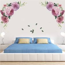 1pc Large Peony Rose Wall Sticker Diy Flowers Symmetry Stickers For Bedroom Living Room Decals Mural Home Decor Kid Girls Gift Wall Stickers Aliexpress