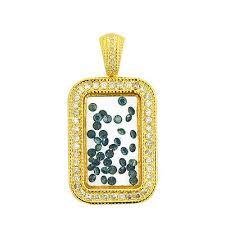 10k floating stone diamond bar pendant