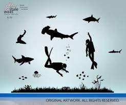 Underwater Wall Decal Undersea Wall Decal With Fishes And Scuba Divers