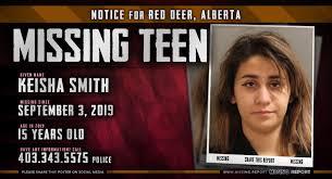 MISSING PERSON • Keisha Smith • Red Deer, Alberta • 15 Years Old • Alberta  Missing Report
