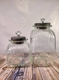 textured glass canister set wood lids