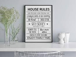 House Rules Wall Art Print Etsy