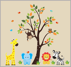 Kids Room Decals Animal Wall Decor Baby Boy Decals Large Tree Nurserydecals4you