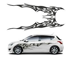 1 Pair Car Truck Flame Totem Graphics Side Decal Vinyl Body Sticker Cool Waterproof Auto Sticker Black Auto Sticker Stickers Coolstickers Black Aliexpress