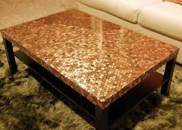 a table using beer bottle caps