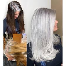 box dye color to all over gray or silver