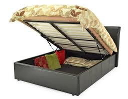 ottoman storage double bed brown faux